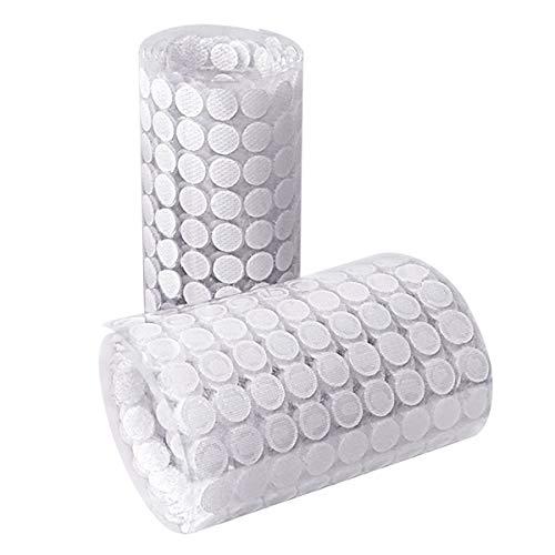 HAUSPROFI 1008 Stück 10mm Klettpunkte Selbstklebend, 504 Paar Self Adhesive Klett Klebepunkte Geeignet für Papier, Kunststoff, Glas, Leder, Metall, Kleidungsstücke (Weiß) (Chart-papier Sticky)