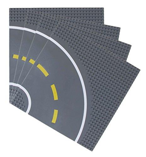 Strictly Briks - Bauplatten Straße mit Kurve - Bauplatten für Straßen, Städte, Garagen & mehr - 100 % kompatibel mit Allen führenden Marken - 10 x 10 (25,4 x 25,4 cm) - 4 Stück - Lego Großen Grundplatten