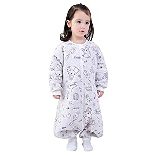 Happy cherry – Bebé Saco de Dormir de Algodón con Piernas Pijama con Mangas Desmontables para Primavera Otoño para 1-5 años