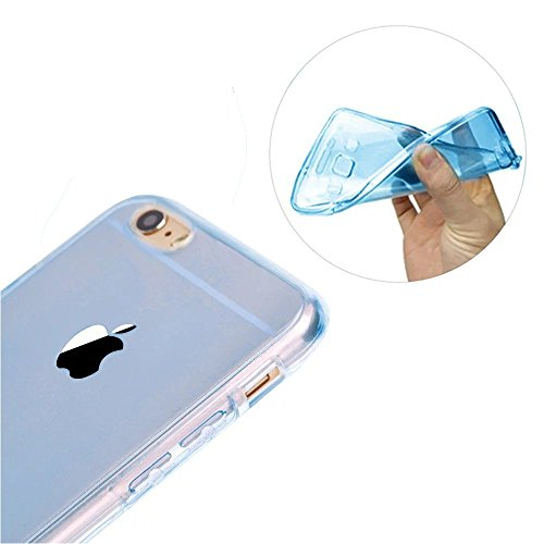 iPhone 6S Hülle, iPhone 6 Hülle, MOMDAD Beidseitiger 360°Full Body Schutzhülle für iPhone 6S 6 Double Case Cover Telefonkasten Touchscreen TPU Silikon Transparent Front Back Schutz Ultra Dünn Kristall QB-Blau