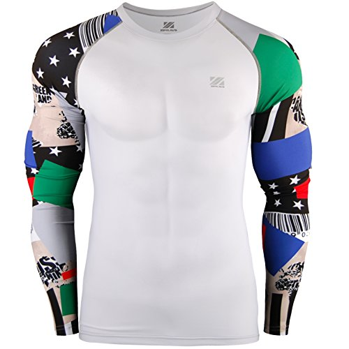 Zipravs Homme Femme Unisex Rashguard Sport Compression Base Layer T-Shirt Long Sleeve