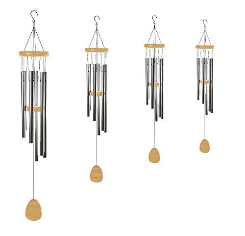 Klangspiel 96 cm mit 6 Klangröhren großes Windspiel Natur Mobile - 2