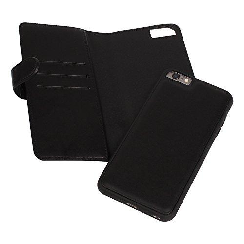 iPhone 6s Plus Hülle, iPhone 6 Plus Hülle, Vandot Echt Leder Multifunktions Zipper Geldbörse Schutzhülle für iPhone 6s Plus / 6 Plus Ledertasche Lederhülle Genuine Leather Abnehmbar Detachable Reißver Chain Schwarz