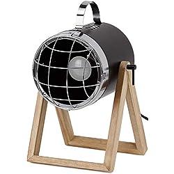 BRUBAKER - Lampe de table/de chevet - Design industriel - Hauteur jusqu'à 42 cm - Pied en Bois - Spot en Métal/Noir