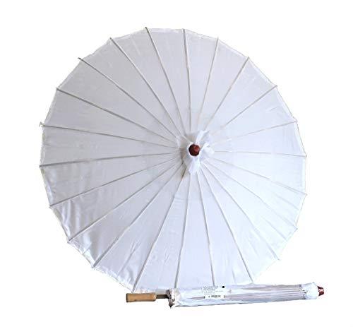 AAF Nommel Sonnenschirm 006, Dekoschirm aus Kunstfaser, wasserfest in Weiss aus Bambus mit Holzgriff