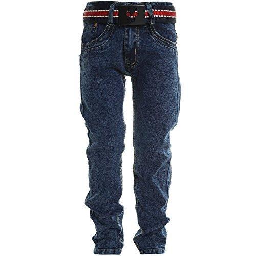 Kinder Jungen Jeans Stretch Röhren Jeans Hose Mit Gürtel 20625, Farbe:Blau;Größe:152
