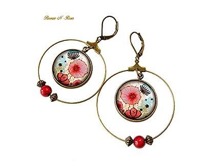 boucles d'oreille créoles fleurs chinoises pendants bronze-n-roses cadeau Noël