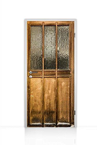 Türtapete selbstklebend einteilig (Holztür rustikal braun) 93x205cm