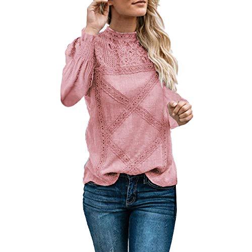 TIFIY Weihnachtsbluse, Damen Weihnachten Spitze Patchwork Sweatshirt Weihnachten Casual Pullover Lange Bluse(A_b_Rosa,Small