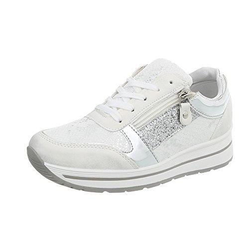 Ital-Design Sneakers Low Damen-Schuhe Schnürsenkel Freizeitschuhe Weiß Silber, Gr 40, A-258- (Sneaker Design)
