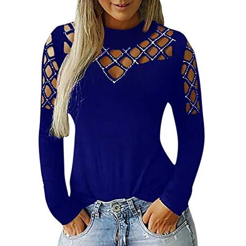 CixNy Top Damen Bluse Frauen Langarmshirt Herbst Winter Casual Durchbrochene Einfarbig Tops T-Shirt Bluse Polo Weste Hemd Tunika (L, Blau) -