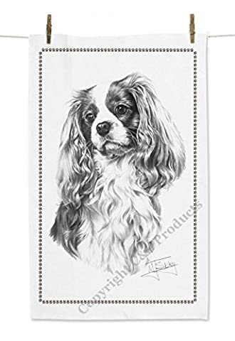Mike Sibley Cavalier King Charles Spaniel Dog White Tea Towel