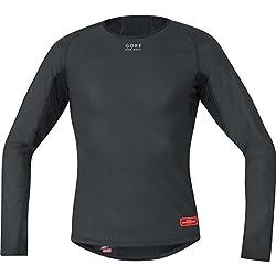 Gore Bike Wear Base Layer Windstopper Termo - Camiseta de ciclismo para hombre, color negro, talla M