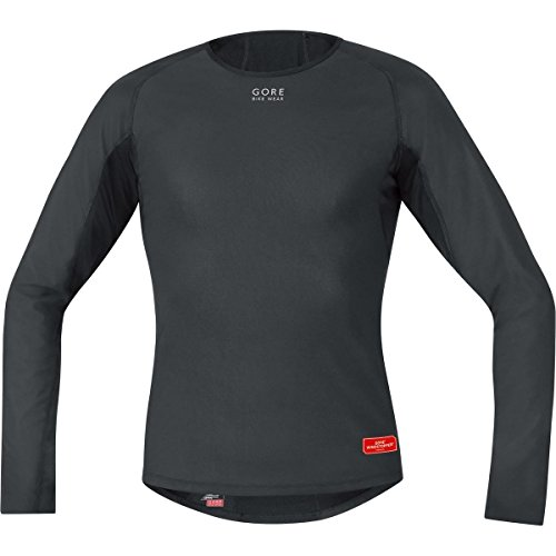 GORE WEAR Herren Langarmshirt Base Layer Windstopper Thermo Trikots & Teamtrikots, Schwarz, S -
