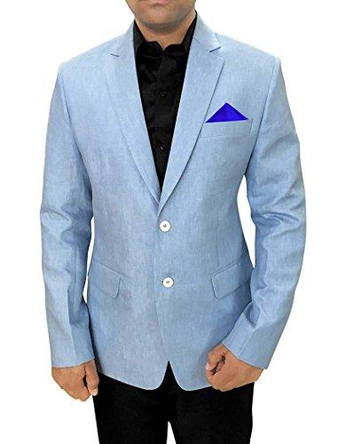 INMONARCH Mens Himmel Blau Leinen Blazer für Sport SB88S42 52 or XL (Höhe 163 cm bis 170 cm) Sky blue (Blazer Kerbe-kragen)