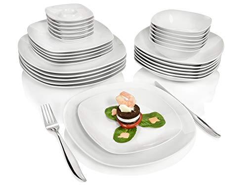 Sänger Kombiservice Bilgola aus Porzellan 30 teilig | Tafelservice für 6 Personen | Geschirrservice beinhaltet Speise- Dessert- und Suppenteller sowie Schalen und Eierbecher (Es, Ist Teller Was)