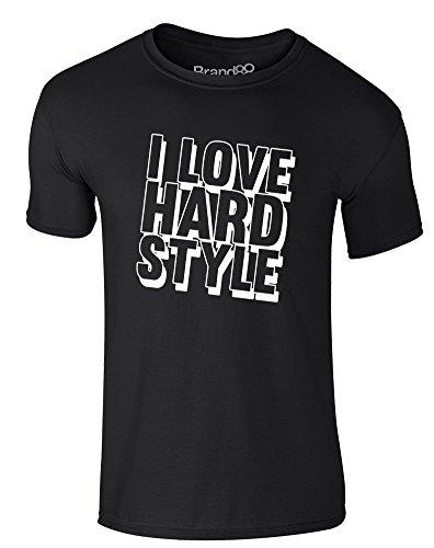 Brand88 - I Love Hard Style, Erwachsene Gedrucktes T-Shirt Schwarz/Weiß