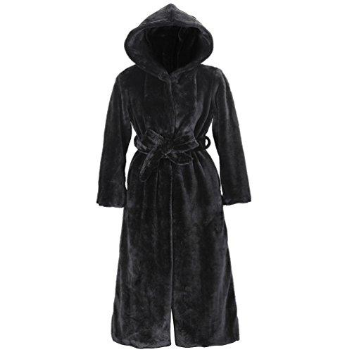 Lvrao donna lungo con cappuccio, cintura pelliccia ecologica spessa parka overcoats (nero, cn s)