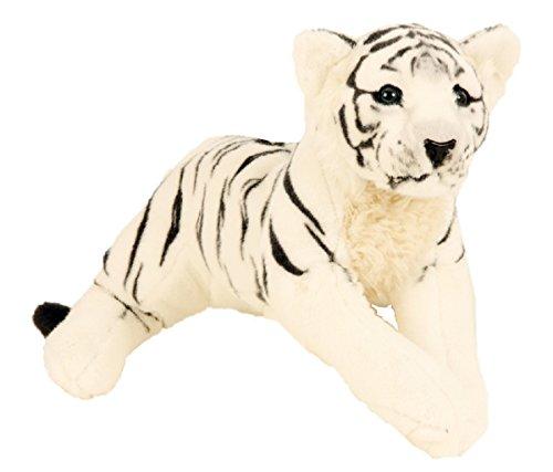 Tiger weiß liegend Plüschtier ca. 60 cm Kuscheltier Softtier Raubkatze Stofftier (Weißer Tiger Stofftier)