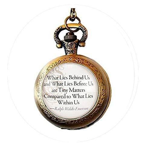 Emerson Zubehör (bab Ralph Waldo Emerson inspirierendes Zitat Schlüsselanhänger What Lies Within Us Taschenuhr Halskette)