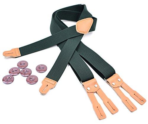 RIONA Herren Hosenträger Einstellbare 6 Knopfloch Leder Hosenträger X Form 3.5 * 125cm 8 Farben