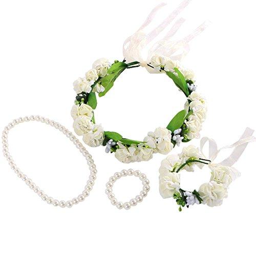 ne Kranz Haarband Handgelenk Band + Faux Pearl Jewelry (Billig Teen Kostüme)