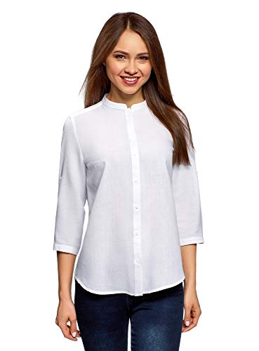 Oodji collection donna camicia in cotone con collo alla coreana, bianco, 38cm / it 48 / eu 44 / xl