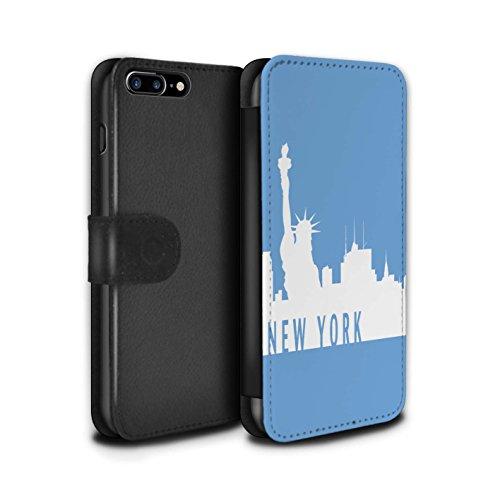 Stuff4 Coque/Etui/Housse Cuir PU Case/Cover pour Apple iPhone 7 Plus / Melbourne/Rouge Design / Toits de la Ville Collection New York/Bleu