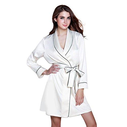 Olivia Jules® Designer Damen Luxuriöser Komfort Mittlere Lange Ärmel Seidige Satin Weiße Robe Mit Abnehmbarem Taillenbund und Innentaschen (Olivia Schlafanzug)