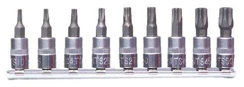 Famex 10698-9 Bit-Einsätze für TS- 5-Stern-Schrauben, mit Stirnlochbohrung, 6,3mm (1/4-Zoll)-Antrieb, 9-tlg.