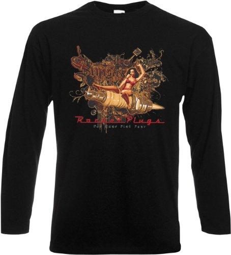 Herren Langarm-Shirt ::: Sinister Garage - Rocket Plugs ::: für echte Biker Schwarz