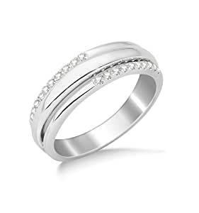 Miore 9ct White Gold Diamond Set Wedding Band Eternity Ring SA960R- Size M