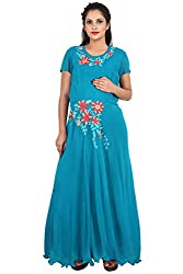 9teenAGAIN Womens Embroidered Maternity Dress (Blue,Extra Large)