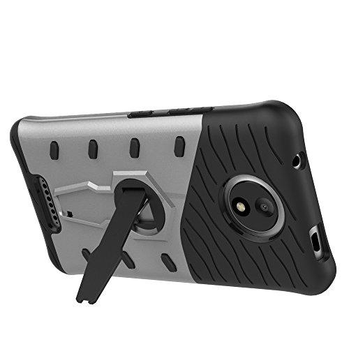 Hüllen für Mobiltelefone Motorola Moto C Plus, TOCASO Slim Armor CS Schutzhülle schwarz [Tough Armor] Extrem Fallschutz Doppelte Schutzschicht Stoßabweisende Handyhülle Silikon TPU Innenteil + Polykar Armor Silber