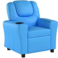 Homcom Kids Children Recliner Lounger Armchair Games Chair Sofa Seat PU Leather Look w/Cup Holder