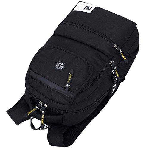 Super moderno Unisex in Nylon impermeabile zaino escursionismo zaino borsa sport zaino Laptop, Uomo donna Bambino, Lake Blue, 36-55L Black