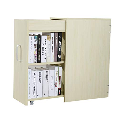 HM&DX Holz Schublade Bücherregal, Bücherschrank Mit rädern Unter Schreibtisch Buch Kabinett Aufbewahrungsregal Für Haus büro-Ahorn -