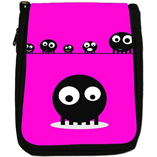 Blob Faces-Borsa a tracolla in tela, colore: nero, taglia: M Pink Blob Faces