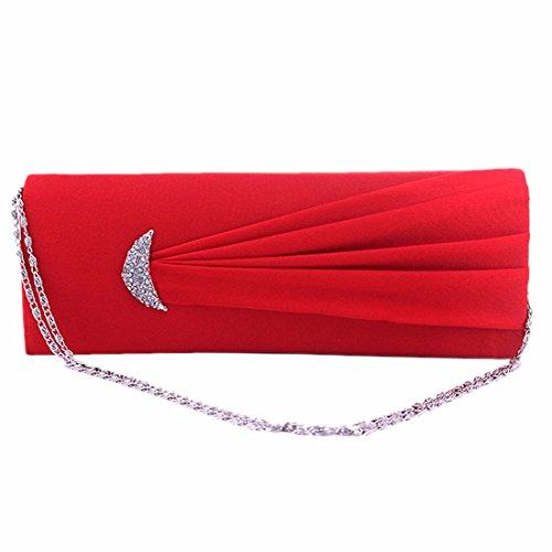 Plissierten Diamante Hochzeit Satin-Dame-Partei Abschlussball-Abendhandtasche Handtasche Club Rot