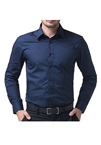 Französisch Manschette-punkt-kragen-hemd (DOOXIUNDI Mens Dress Shirt Longsleeve Slim Fit (14 Colors & 5 Sizes Available) (XS, dunkelblau))