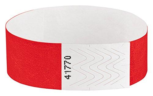 Tyvek Eintrittsbänder, Einlassbänder, Kontrollbänder, Festivalbänder, Securebänder, Kontrollarmbänder, Größe:100 Stück, Farbe:rot