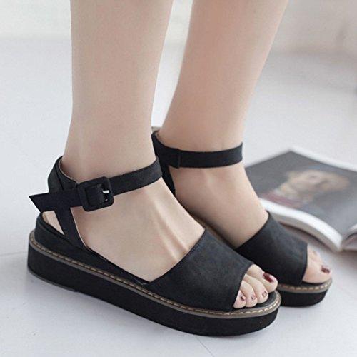 COOLCEPT Femmes Mode Cheville Sandales Orteil Ouvert Compenses Heel Slingback Chaussures Noir