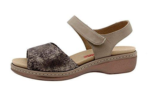 Chaussure femme confort en cuir Piesanto 8807 sandale semelle amovible confortables amples Visón