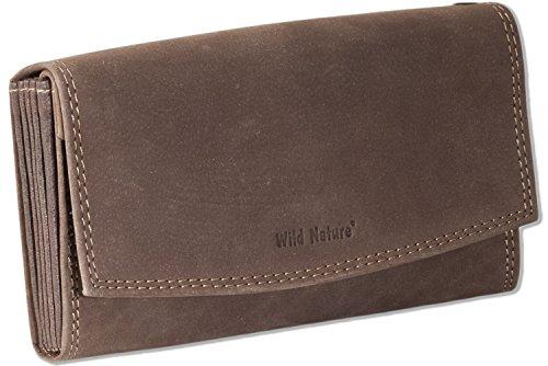 Wild Nature® Profi Kellnerbörse mit Doppel-Druckknopfverschluss aus naturbelassenem Büffelleder in Dunkelbraun/Taupe -
