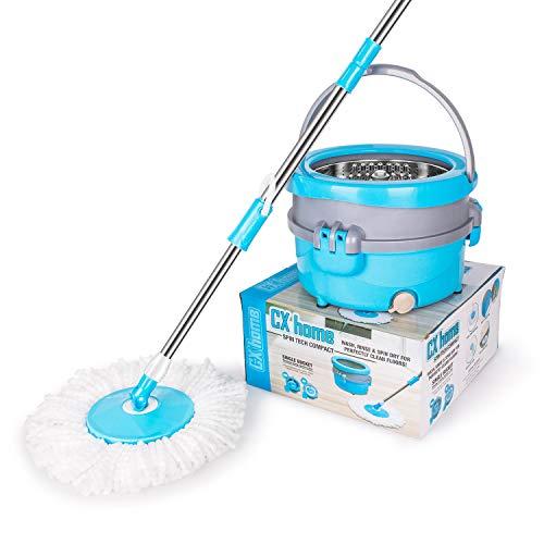 CXhome Spin Mop Easy Wring Reinigungssystem Spin Mop mit Eimer Bodenwischer Wet Dry Mop mit 2 waschbaren Mikrofaser Wischmopp