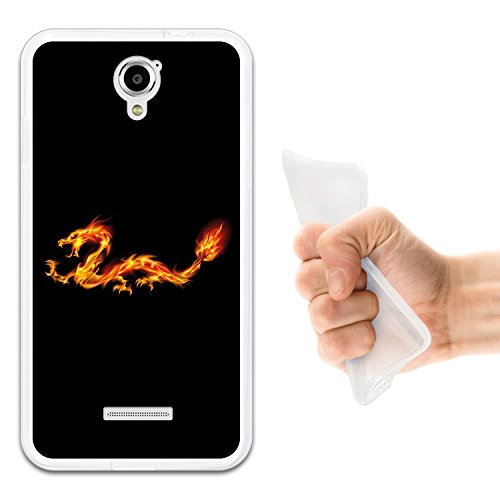 WoowCase Coolpad Modena Hülle, Handyhülle Silikon für [ Coolpad Modena ] Abstrakterfeuerdragon 2 Handytasche Handy Cover Case Schutzhülle Flexible TPU - Transparent