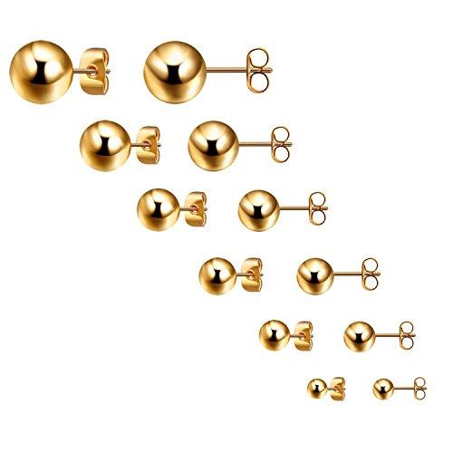 Bliqniq Edelstahl Ohrstecker für Männer Frauen Glod 6 Paare ein Set, Durchmesser: 3mm 4mm 5mm 6mm 7mm 8mm