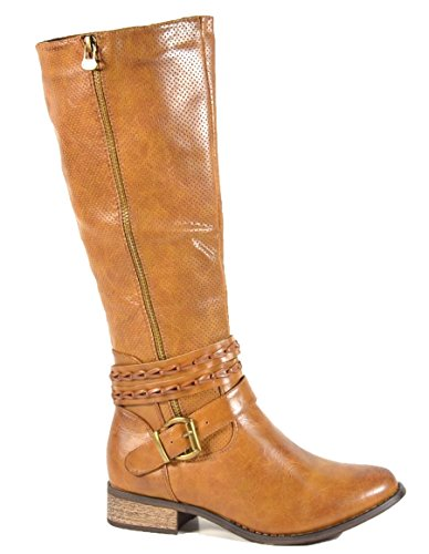 King Of Shoes Klassische Kniehohe Damen Biker Stiefel Leder Optik Boots Nieten Langschaft 536 (38, Camel B9)