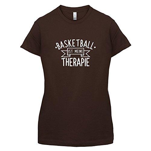 Basketball ist meine Therapie - Damen T-Shirt - 14 Farben Dunkles Schokobraun