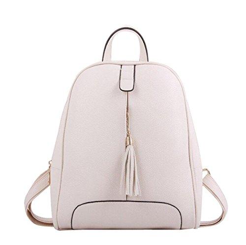 Student Umhängetasche Einfach Quaste Reisetasche Lässig Rucksack White